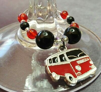 Cute Kombi Van Wine Glass Charms. 7 Colours To Choose From.