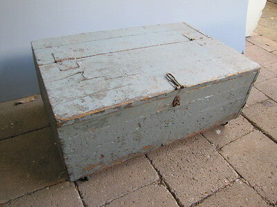 Vintage Rustic Timber Toolbox Coffee Table Toybox on Wheels