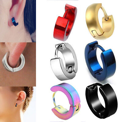 1Pair Punk Mens Women Stainless Steel Hoop Huggies Ear Stud Earrings Gothic