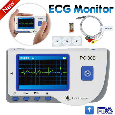 Heal Force ECG EKG Heart Monitor Portable Handheld w/ Lead Cable + 50 Electrodes