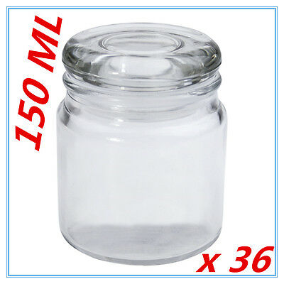 36 x 150ml Apothecary Small Glass Jars Lolly Candy Candle Wedding Party Favor D