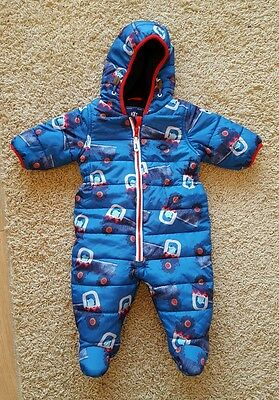 Boys Next blue fleece lined snowsuit 18-24 1.5-2 padded warm all in one print