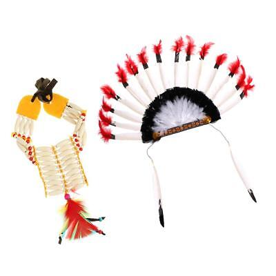 Native American Indian Choker and Headdress Party Headdress Set
