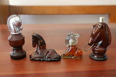 4 x Collectable Vintage AVON Horse Head Chess Knight Perfume Bottles