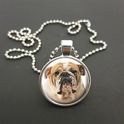 """Bulldog Pendant On a 18"""" (Or Any Size)  Ball Chain Necklace Birthday Gift N74"""