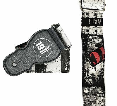 New York NYC US Acoustic Electric Bass Guitar Strap Black Multicoloured