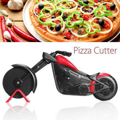Non-stick Pizza Wheel Cutter Chopper Slicer Kitchen Tools Motorcycle Stand PQ