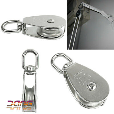 2PCS Heavy Duty Stainless Steel Single Wheel Swivel Pulley Block Lifting Rope