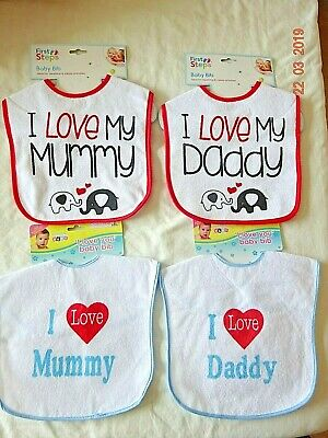 Baby Boy Girl Infants Kids Dribble Feeding Bibs I Love Mum, Dad Waterproof Back