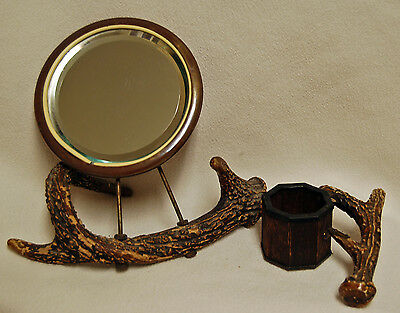 Antique 19th Century Table Top Portable Vanity Horn Shaving Mirror & Brush Stand