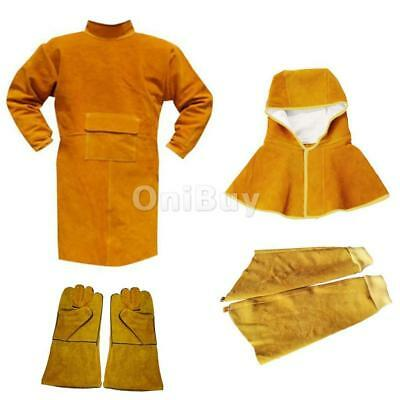 Cowhide Leather Welding Coat Fire Resistant Protective Clothing Kit Orange