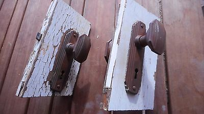 Vintage Art Deco Handles with backing plates and mechanisms x 2 sets