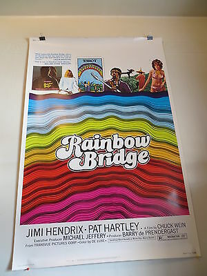 "RARE JIMI HENDRIX RAINBOW BRIDGE MOVIE POSTER 40"" x 60"" EXCELLENT!!"