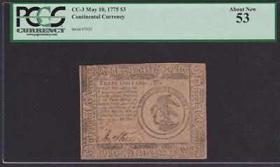CC-3 *** PCGS AU53 *** $3.00 May 10, 1775 Continental Colonial Currency - SCARCE