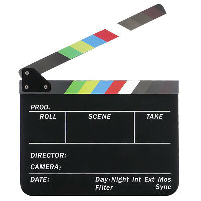 Dry Erase Director's Film Movie Cut Action Board Slate with Colorful Sticks C5E7