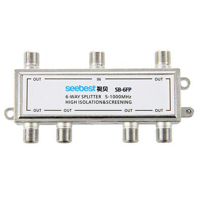 Seebest 6 way CATV cable television antenna RF signal coaxial splitter silver