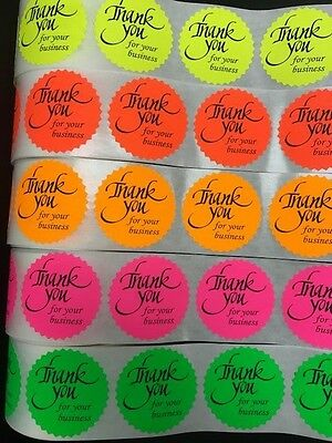 1000 Thank You For Your Business Neon Labels Stickers Starburst Fluorescent 2""