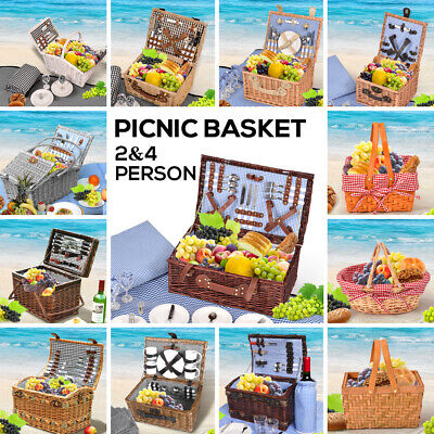 Deluxe 2/4 Person Picnic Basket Baskets Set Outdoor Corporate Blanket Park Trip