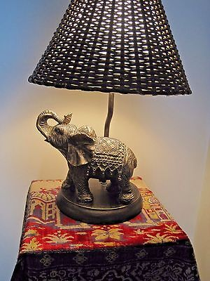 Vtg. Trunk Up Trumpeting Figural Elephant Lamp / Wicker Shade