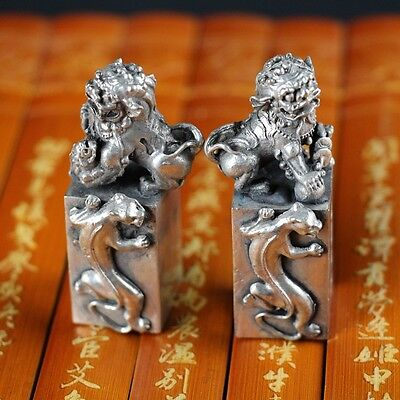 A pair of China collection Tibet silver Unicorn Foo Dogs statues seal