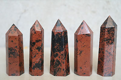 191g 5pcs NATURAL RED OBSIDIAN POLISHED CRYSTAL DT WAND POINT HEALING D015