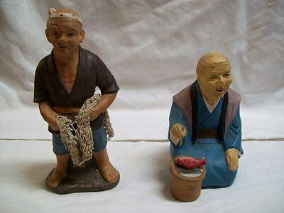 Lot of 2 Vintage Japan Ceramic Fishermen Figurines One Fishing One Eating