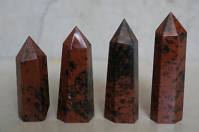 151g 5pcs NATURAL RED OBSIDIAN POLISHED CRYSTAL DT WAND POINT HEALING D017