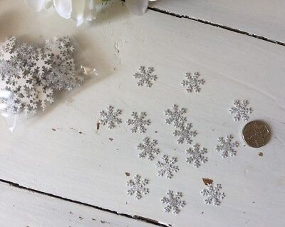 100 Silver Glitter Snowflakes Christmas Crafts Card Making Etc