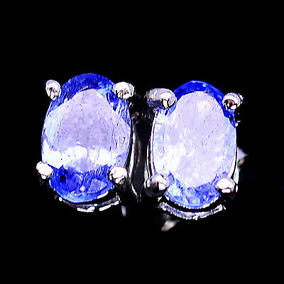 Alluring! Natural! Blue Tanzanite Sterling 925 Silver Earrings