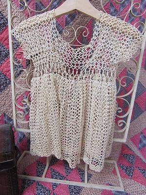 RARE Antique BABY or Child's Lavishly TATTED Tatting DRESS Cream Color Doll