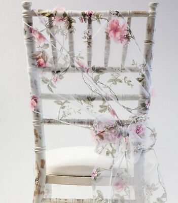 Pink Blossom Organza Chair Sash Bow Overlay Or Table Runner Wedding Chairs Event