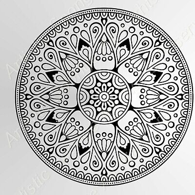 ROUND MANDALA MEDALLION Reusable Stencil A3 A4 A5 Modern Wall Furniture Art / M2