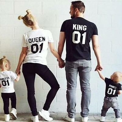 Fashion Couple T-Shirt Family T-shirt King&Queen Family Love Matching Casual Tee