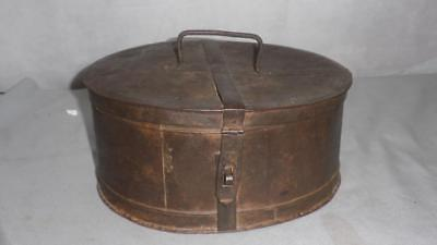 Antique- Old- Oval- Metal Tin- Wig Box- 30cm x 25cm x 13cm