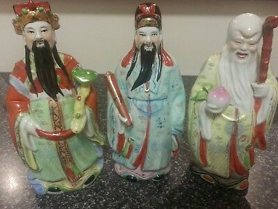 Vintage Chinese Lucky 3 Figurines  Fu Lu Shou Three Stars Good condition