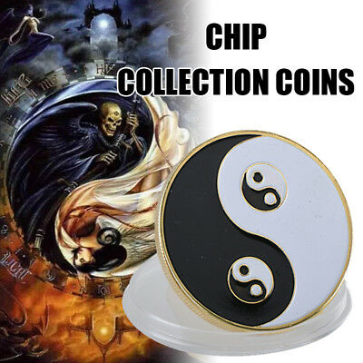 WR Yin Yang Golden Casino Poker Chip Coin Card Guard Protector Good Luck Item