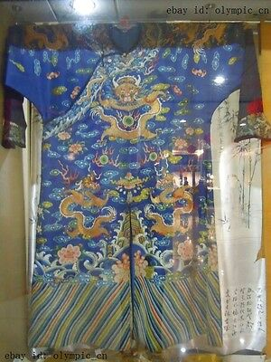 Old China royalty silk handcraft embroidery magnificent  nine dragon Robe