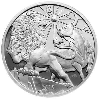 10 oz 2015 Modern Ancients Lion and Bull Silver Proof Round
