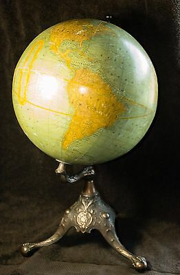 RARE Gothic Revival Terrestrial Rand McNally Antique 1909 World Globe Table Top