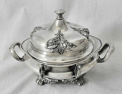 EXQUISITE!! Atq FORBES SILVER CO #214 Ornate Quad Plate Ftd BUTTER/CHEESE Server