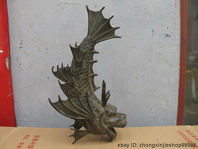 "14""China Royal Classical Bronze handwork carved Dragon Fish Swordfish statue"