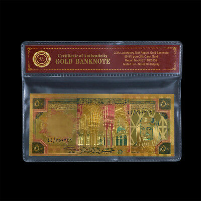 WR Gold Saudi Arabia Banknote Colored 50 Riyals Collectible Gift Items In Sleeve