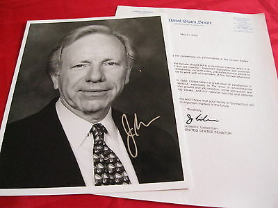 Senator Joseph Lieberman signed autographed 8x10 Photo with Signed Senate Letter