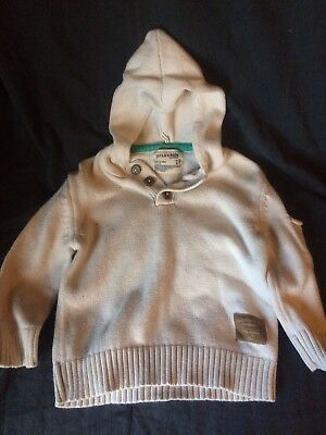 Carters Boys 2T Off White Hooded Sweater