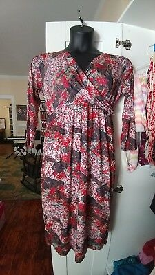 Japanese Weekend l large Maternity & Nursing red floral faux wrap Career Dress