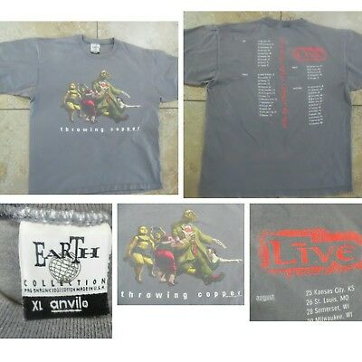 VTG LIVE Band Throwing Copper 1990s CONCERT TOUR T-SHIRT 2 Sided Graphic Gray XL