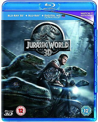 Jurassic World 2015 3D Blu-Ray + Standard 2D Blu-ray Chris Pratt 5053083048372