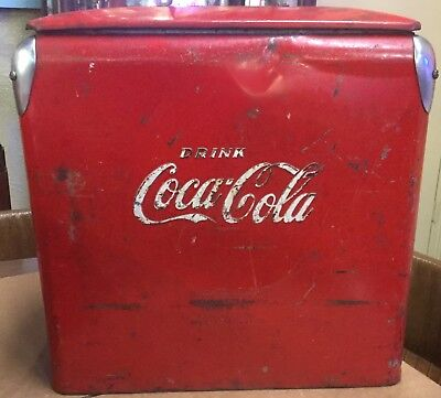 Vintage Drink Coca-Cola Picnic Cooler With Original Metal Tray- Good Condition