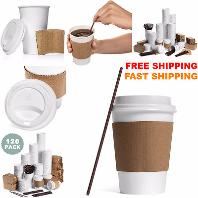 NEW LOTS Of 120 Paper Coffee Hot Cups Disposable W Travel Lids Sleeves Stirrers