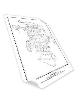 ford cologne v6 engine diagram schematic print a2 a3 size hand drawn Ford Ranger 3.0 V6 Engine ford cvh rs turbo engine diagram schematic print a2 a3 size hand drawn poster